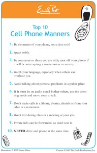 Top 10 Cell Phone Manners